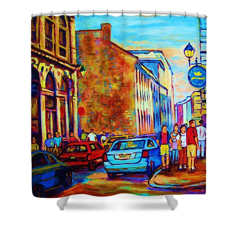 Montreal Shower Curtain featuring the painting Blue Cars At The Resto Bar by Carole Spandau