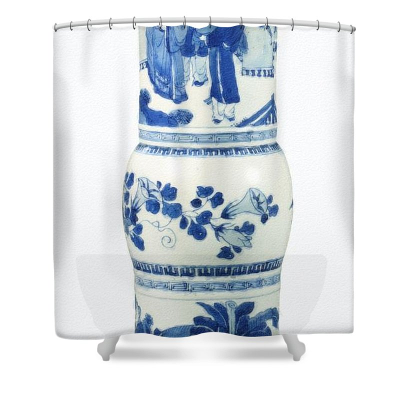 Blue Chinese Chinoiserie Pottery Vase No 3blue & White Chinese Porcelain Around The World Shower Curtain featuring the painting Blue Chinese Chinoiserie Pottery Vase No 3 by Celestial Images