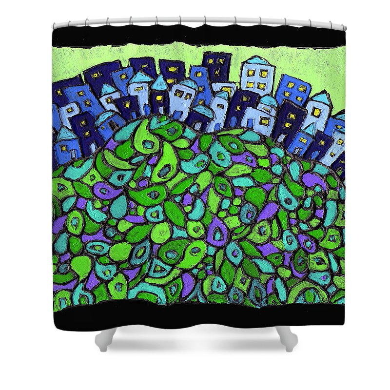 City Shower Curtain featuring the painting Blue City On A Hill by Wayne Potrafka