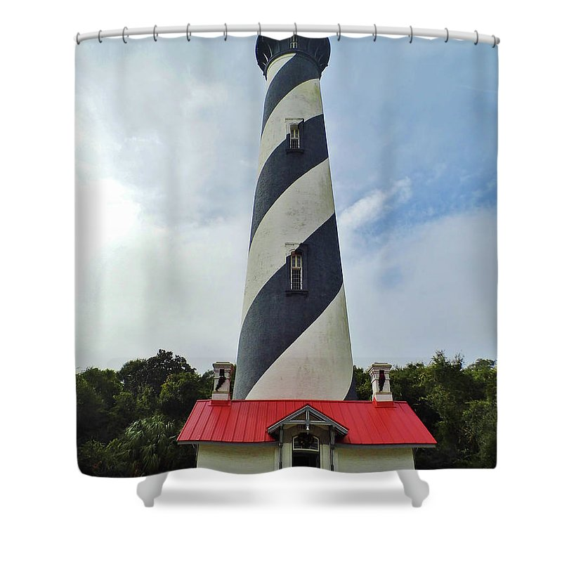 St Augustine Shower Curtain featuring the photograph Blue Clouds At The Lighthouse by D Hackett