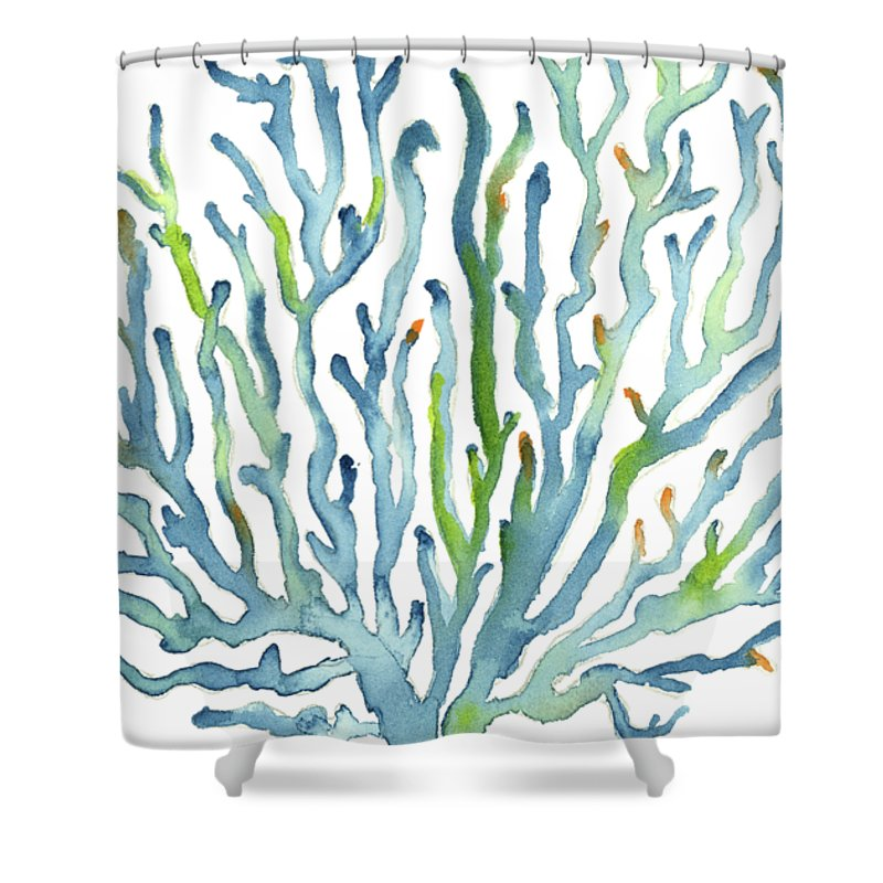 Watercolor Coral Shower Curtain Featuring The Painting Blue By Amy Kirkpatrick