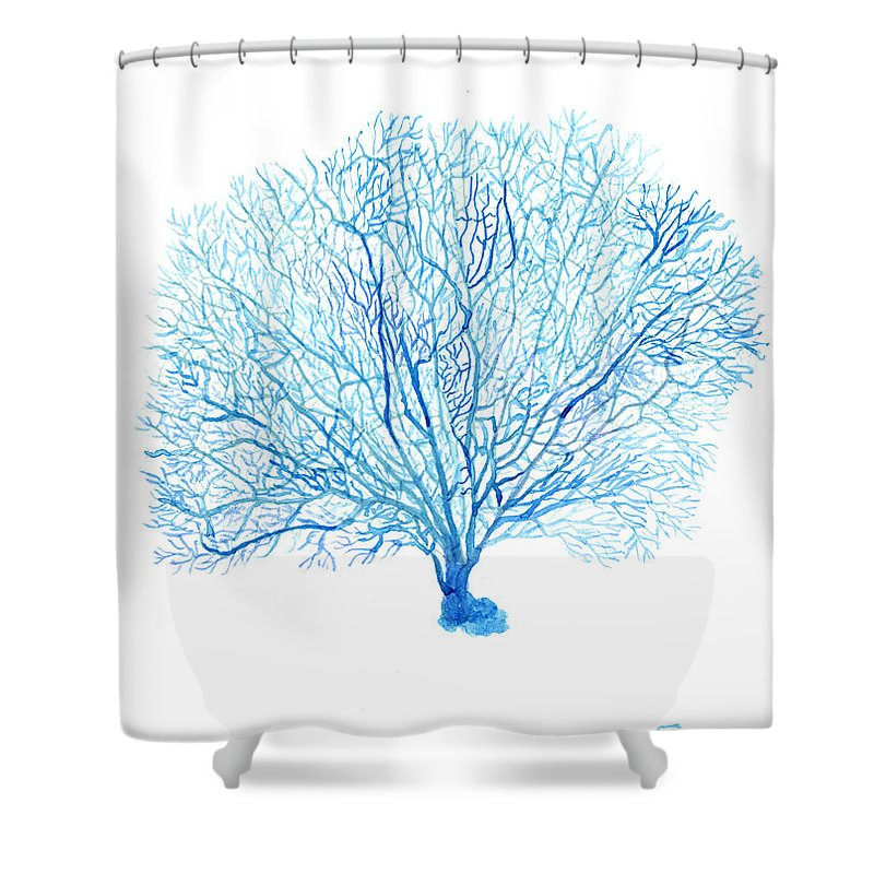 Coral Shower Curtain Featuring The Painting Blue By Green Palace