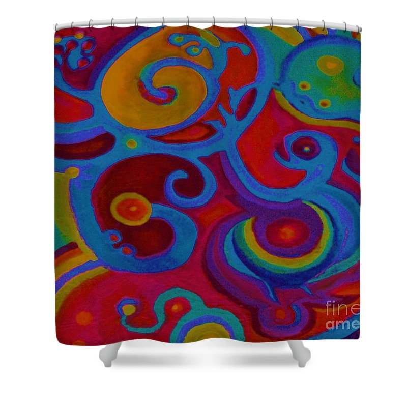 Abstract Shower Curtain featuring the painting Blue Corn Flower by Sidra Myers
