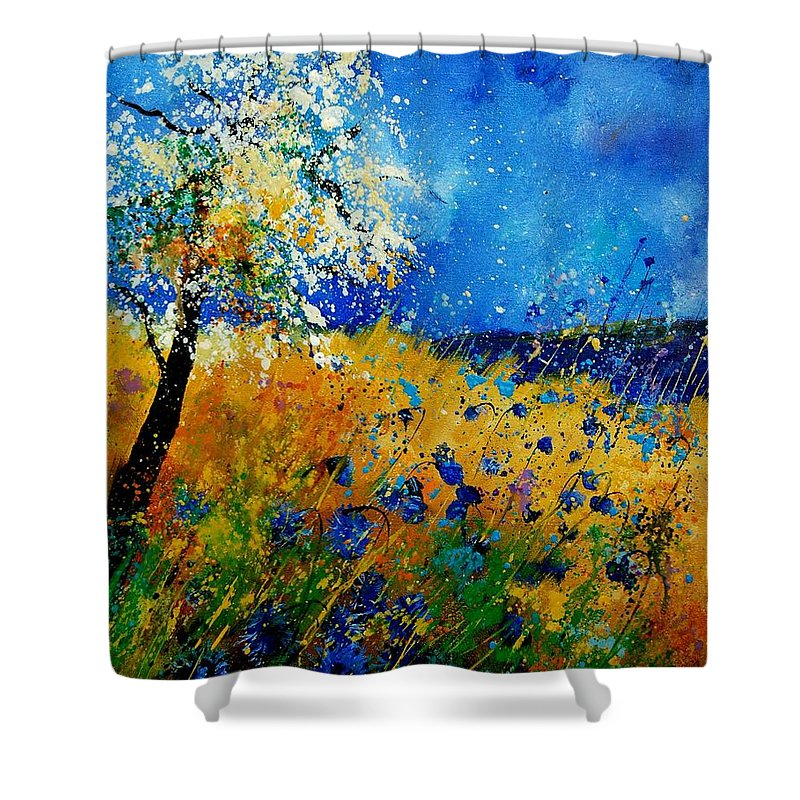 Poppies Shower Curtain featuring the painting Blue Cornflowers 450108 by Pol Ledent
