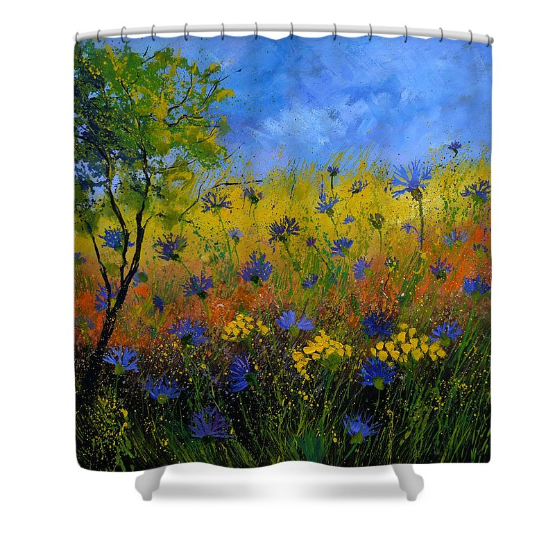 Flowers Shower Curtain featuring the painting Blue Cornflowers 7761 by Pol Ledent
