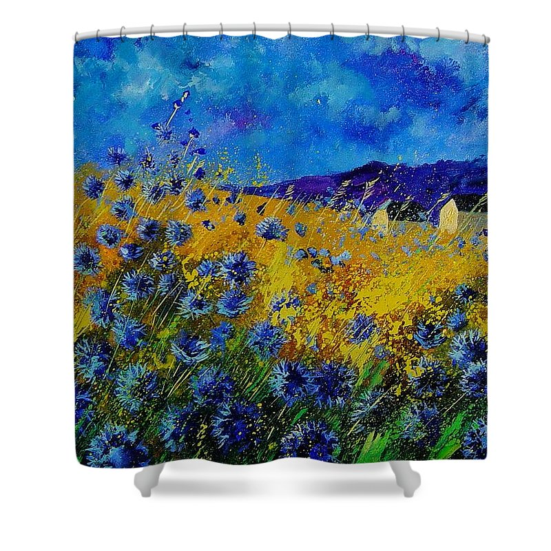 Poppies Shower Curtain featuring the painting Blue cornflowers by Pol Ledent