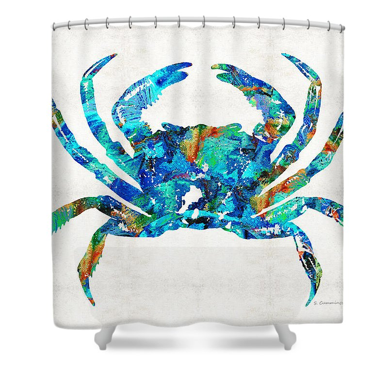 Blue Crab Art By Sharon Cummings Shower Curtain For Sale