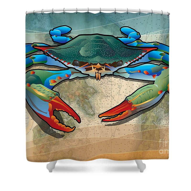 Crab Shower Curtain Featuring The Digital Art Blue By Joe Barsin