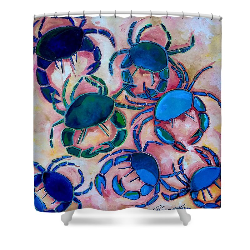 Crab Shower Curtain featuring the painting Blue Crabs by Patti Schermerhorn