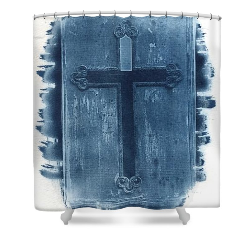 Cyanotype Shower Curtain featuring the photograph Blue Cross by Jane Linders