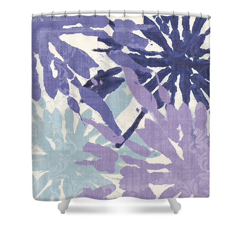 Ikat Shower Curtain Featuring The Painting Blue Curry II By Mindy Sommers
