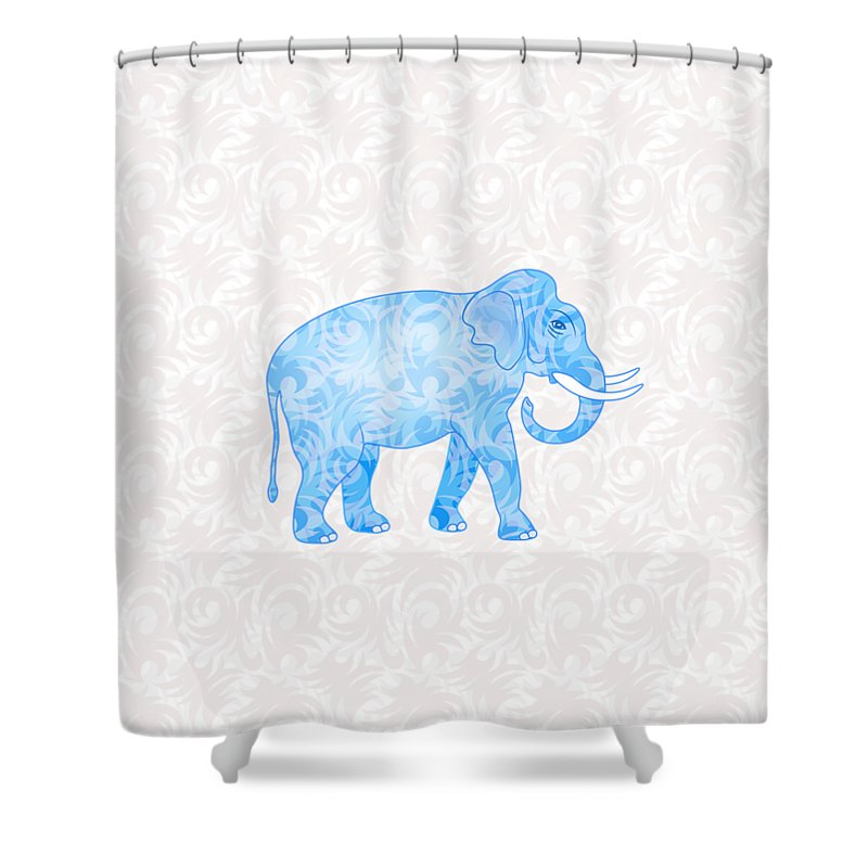Elephant Shower Curtain featuring the digital art Blue Damask Elephant by Antique Images