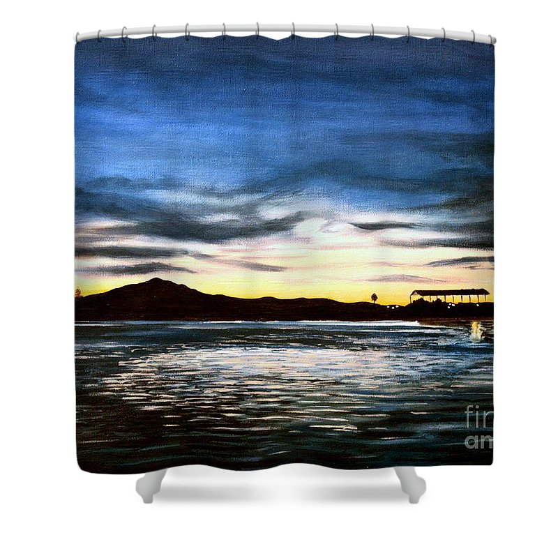 Landscape Shower Curtain featuring the painting Blue Diablo by Elizabeth Robinette Tyndall