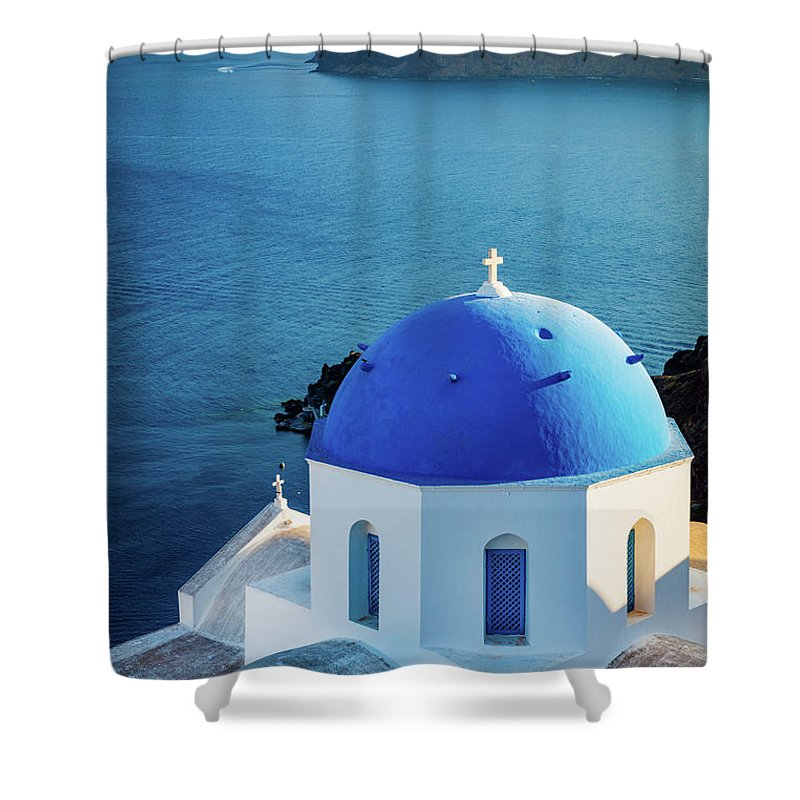 Aegean Sea Shower Curtain featuring the photograph Blue Dome by Inge Johnsson