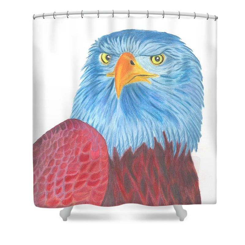 Coloured Pencil Shower Curtain Featuring The Drawing Blue Eagle By Isabel Proffit