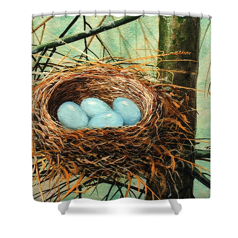 Wildlife Shower Curtain featuring the painting Blue Eggs In Nest by Frank Wilson