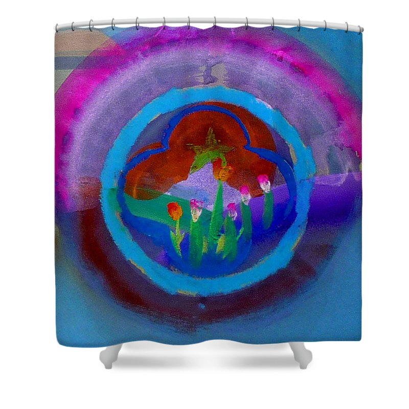 Love Shower Curtain featuring the painting Blue Embrace by Charles Stuart