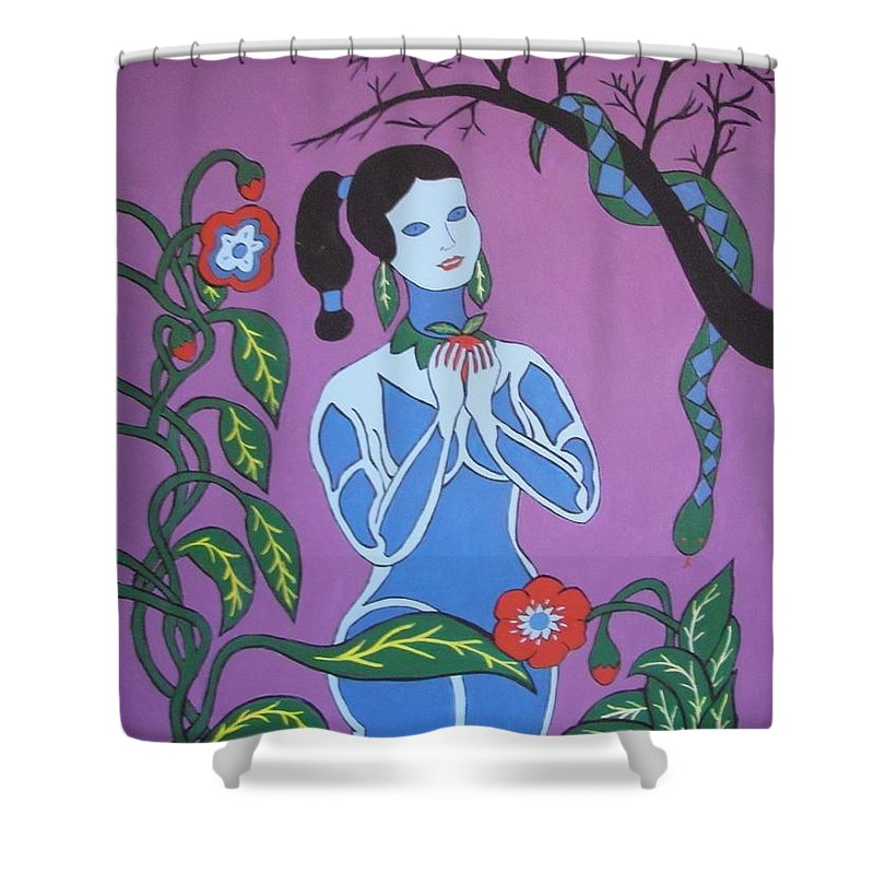 Eve Shower Curtain featuring the painting Blue Eve No. 2 by Stephanie Moore