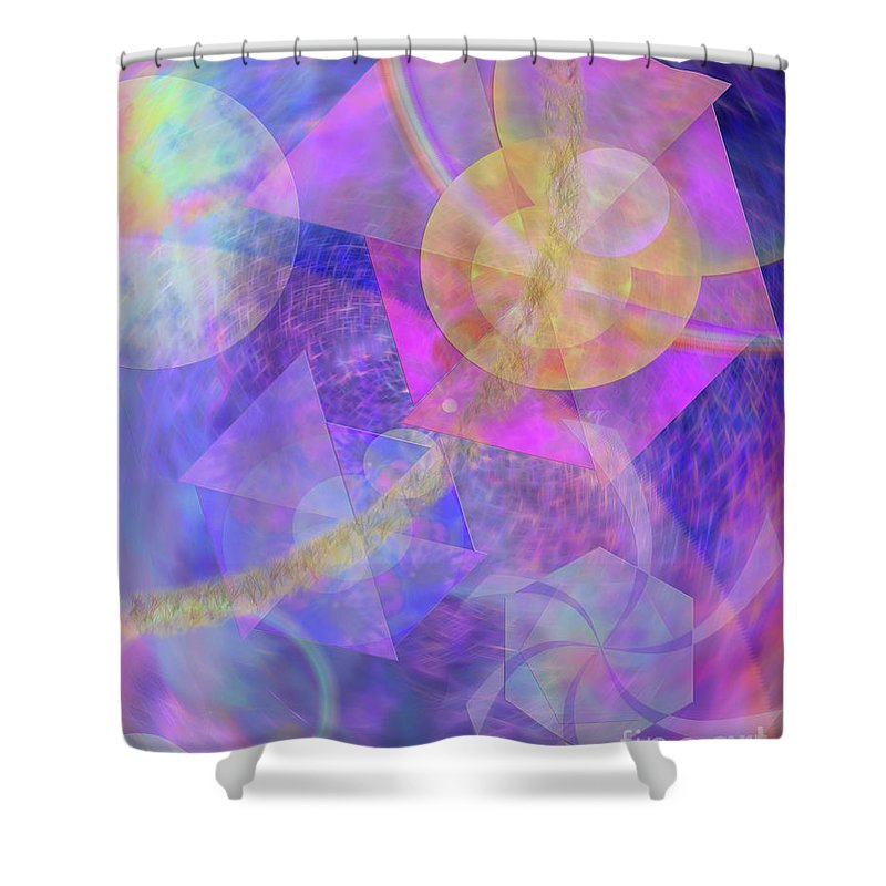 Blue Expectations Shower Curtain featuring the digital art Blue Expectations by John Beck