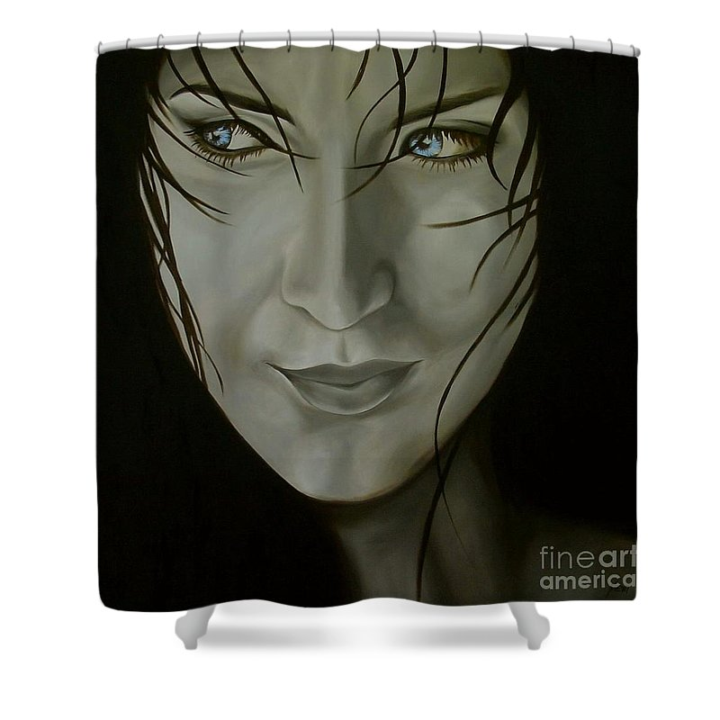 Girl Shower Curtain featuring the painting Blue-eyed Girl by Jindra Noewi