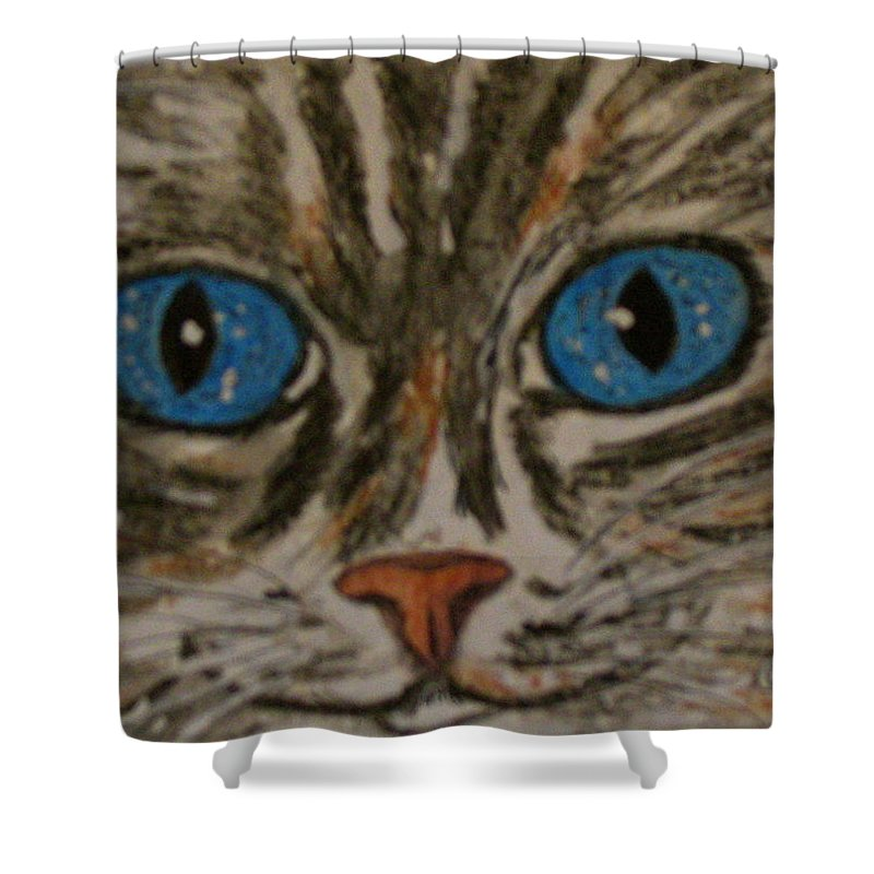 Blue Eyes Shower Curtain featuring the painting Blue Eyed Tiger Cat by Kathy Marrs Chandler