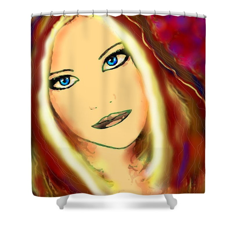 Woman Shower Curtain featuring the painting Blue Eyes by Natalie Holland