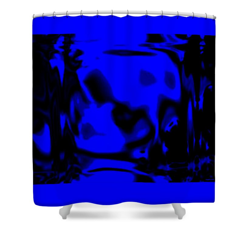 Aupre.com Hypermorphic Arthouse Unique Original Digital Art Made By The Hari Rama Shower Curtain featuring the painting Blue Fashion by The Hari Rama