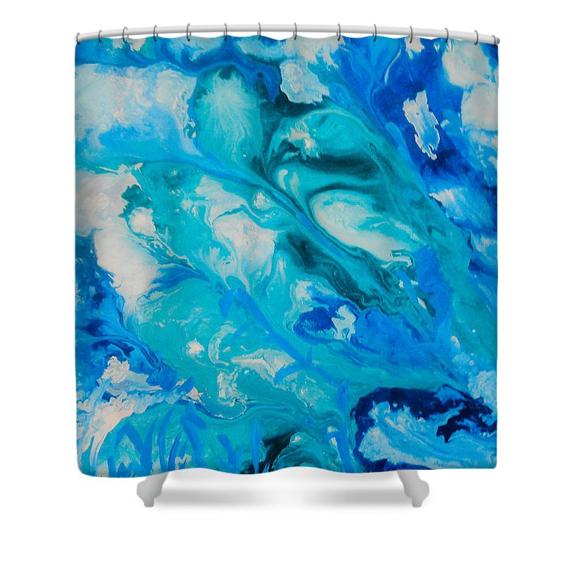 Abstract Shower Curtain featuring the painting Blue Flowers by Elle Justine