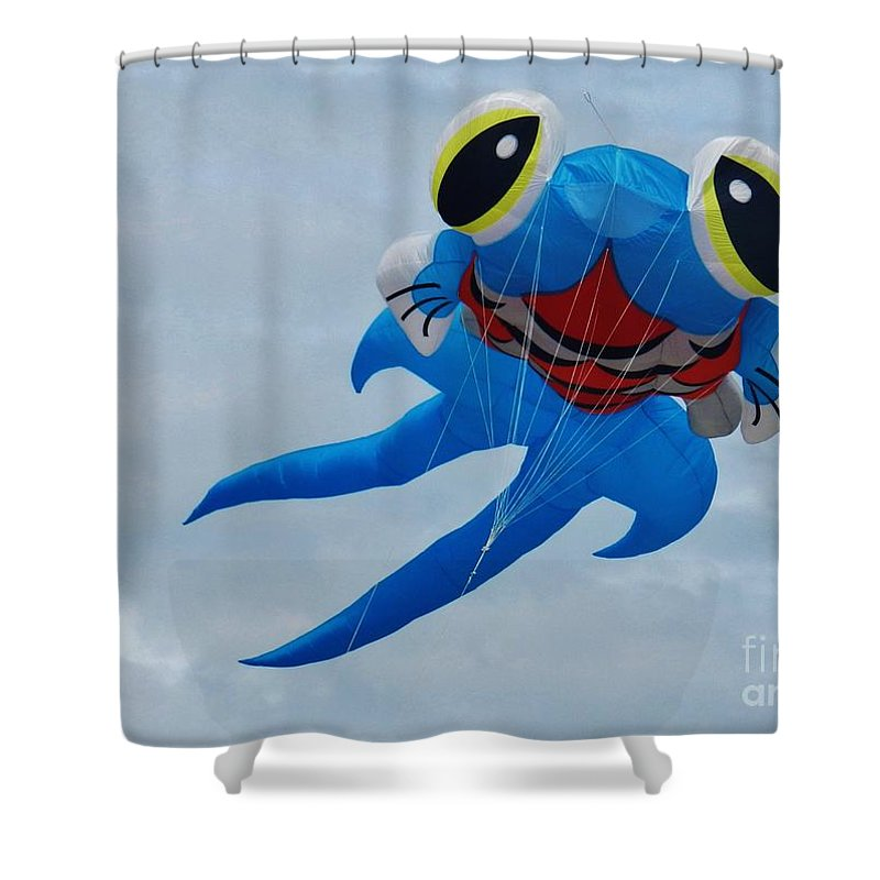 Blue Fish Shower Curtain featuring the photograph Blue Fish Kite by Snapshot Studio