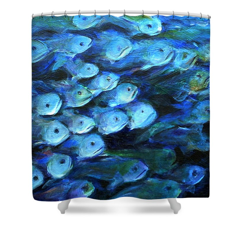 Blue Shower Curtain featuring the painting Blue Fish by Nanci Cook