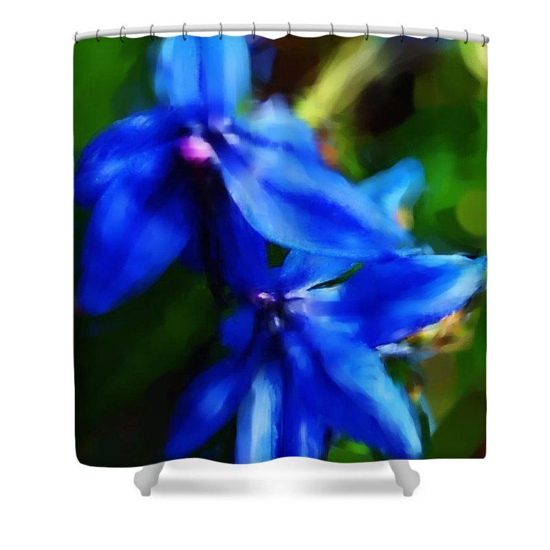 Digital Photograph Shower Curtain featuring the photograph Blue Flower 10-30-09 by David Lane