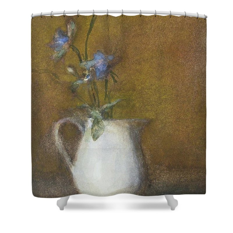 Floral Still Life Shower Curtain featuring the painting Blue Flower by Joan DaGradi