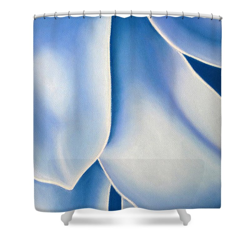 Flowers Shower Curtain featuring the drawing Blue Flower by Joshua Morton