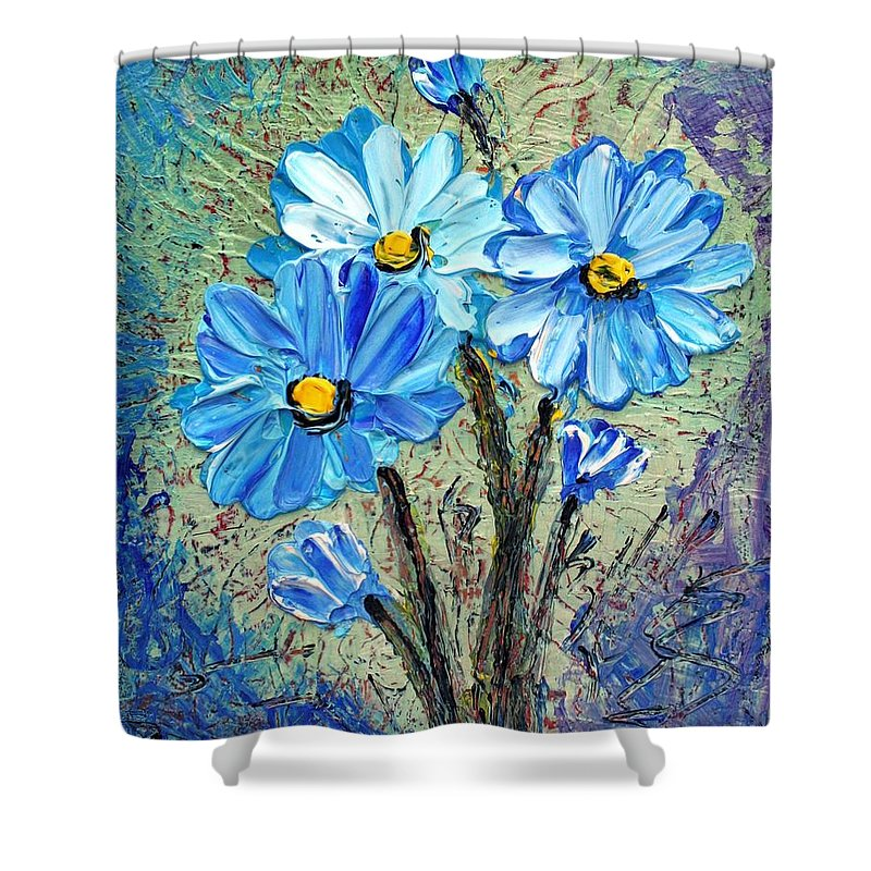 Flowers Shower Curtain featuring the painting Blue Flowers by Luiza Vizoli