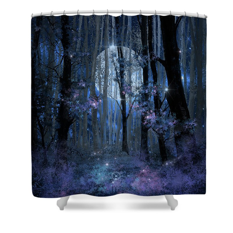 Forest Shower Curtain Featuring The Painting Blue By Bekim Art