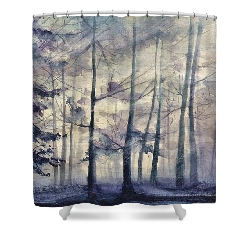 Landscape Shower Curtain featuring the painting Blue Forest In Winter by Gulina Oksana