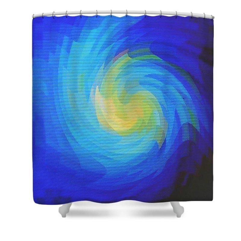 Blue Shower Curtain featuring the digital art Blue Galaxy by Ian MacDonald
