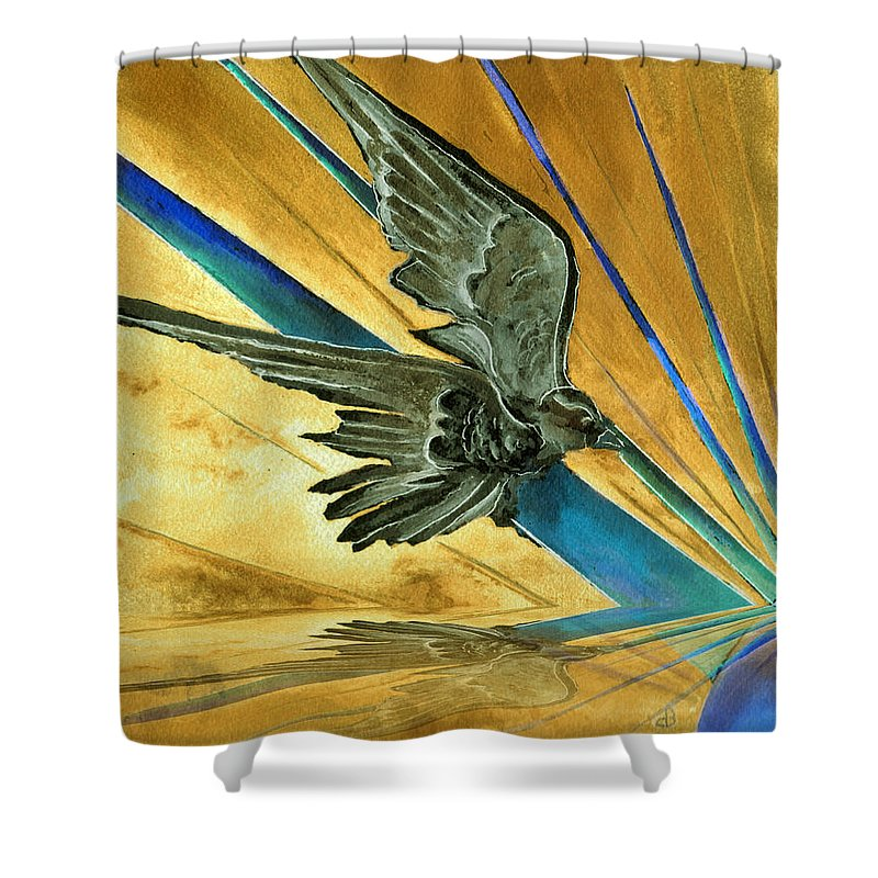 Watercolor Raven Crow Bird Sun Planet Landscape Surreal Fantasy Shower Curtain featuring the painting Blue Genesis  by Brenda Owen