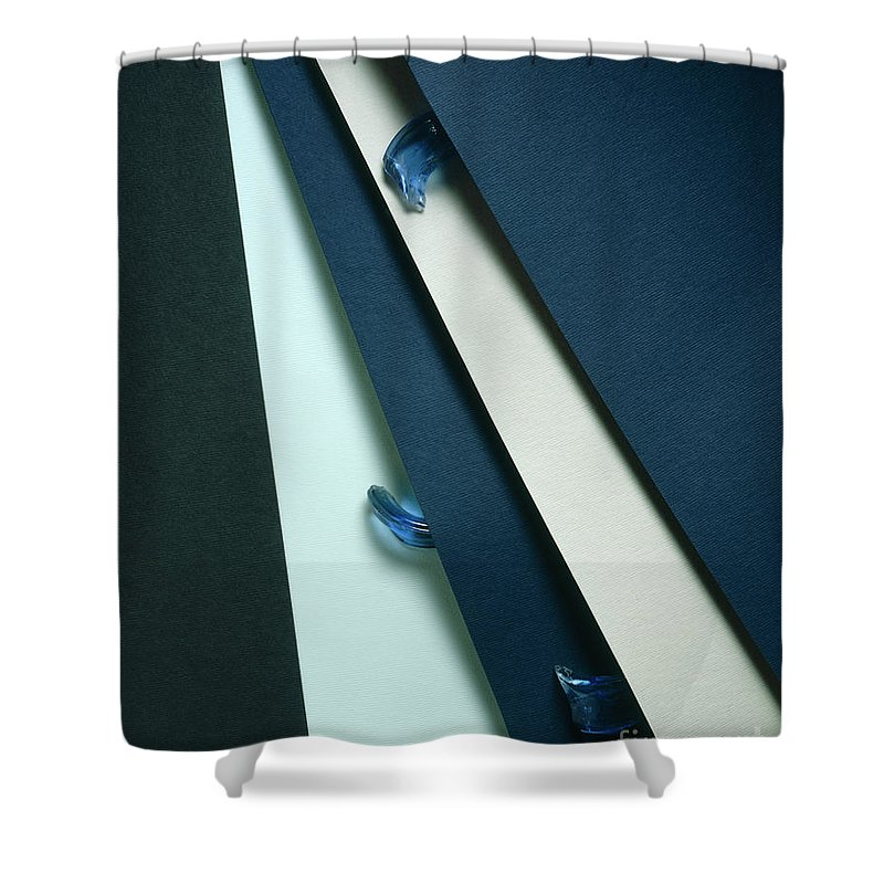 Arty Shower Curtain featuring the photograph Blue Glass And Paper by Stefania Levi
