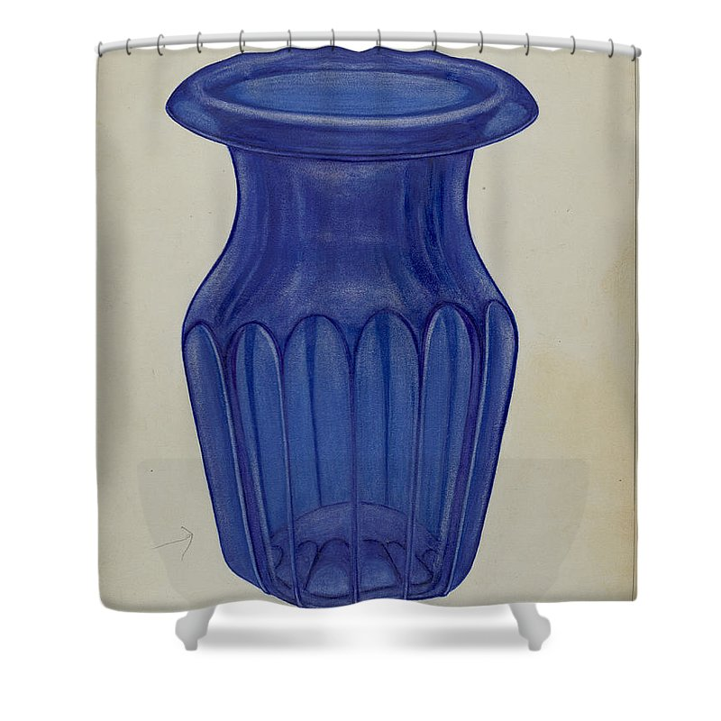Shower Curtain featuring the drawing Blue Glass by Nicholas Amantea