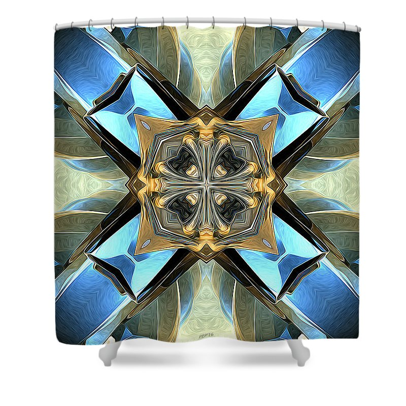 Blue Shower Curtain featuring the digital art Blue, Green And Gold Abstract by Phil Perkins