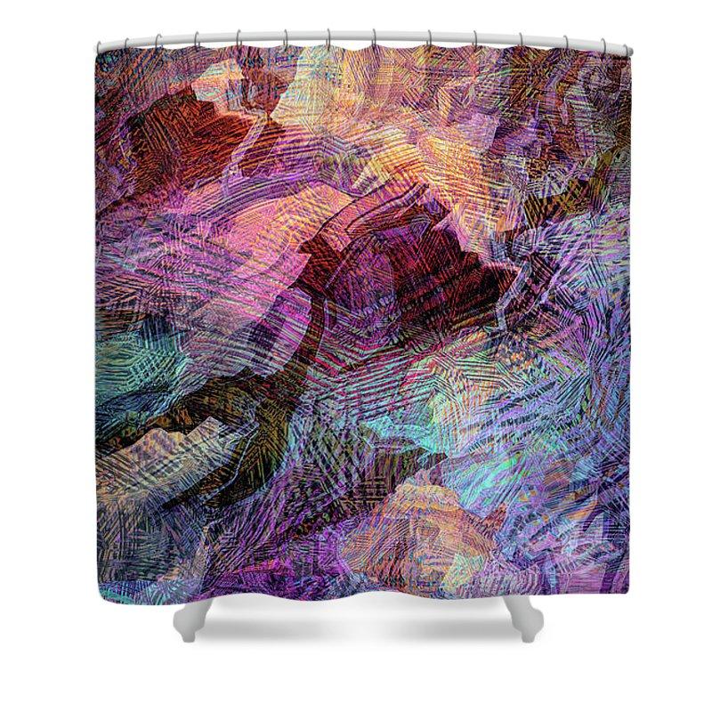 Digital Art Shower Curtain featuring the digital art Blue Harmony by Grace Iradian