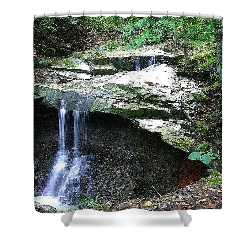 Waterfall. Water Shower Curtain featuring the photograph Blue Hen Falls by Nelson Strong