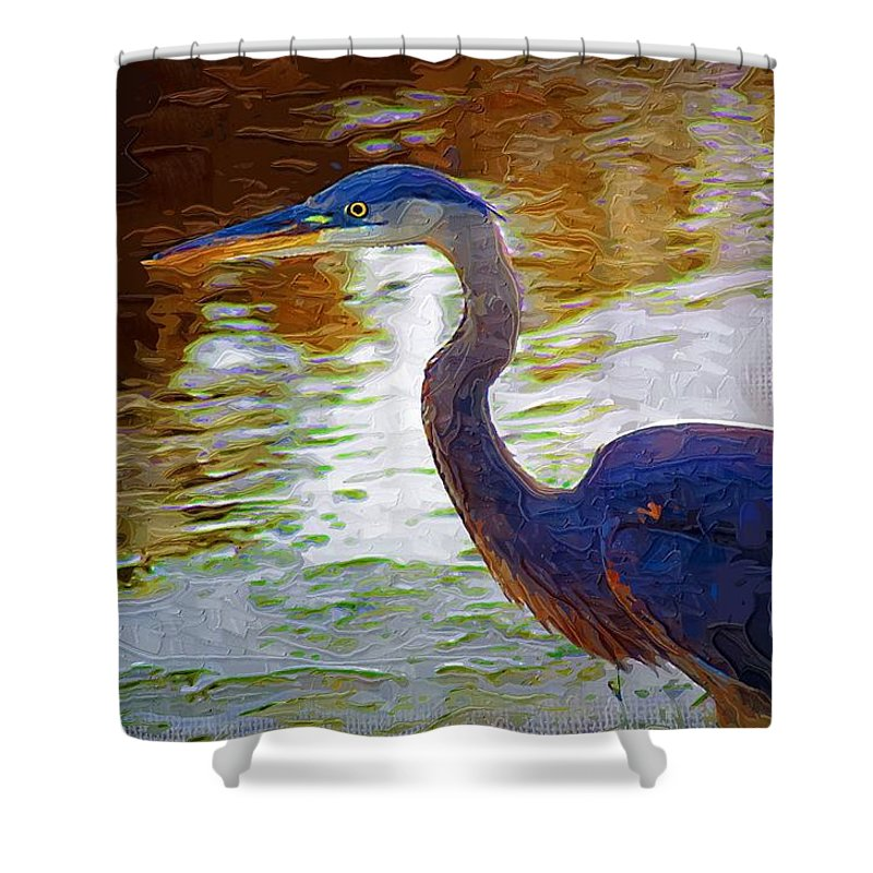 Blue Heron Shower Curtain featuring the photograph Blue Heron 2 by Donna Bentley