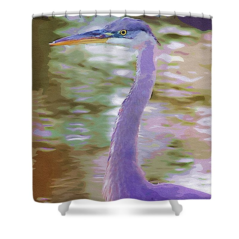Ponds Shower Curtain featuring the photograph Blue Heron by Donna Bentley