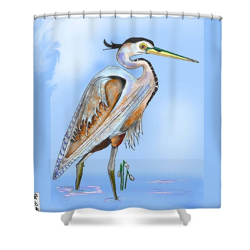 Blue Heron Shower Curtain featuring the painting Blue Heron In The Mist by Anne Norskog