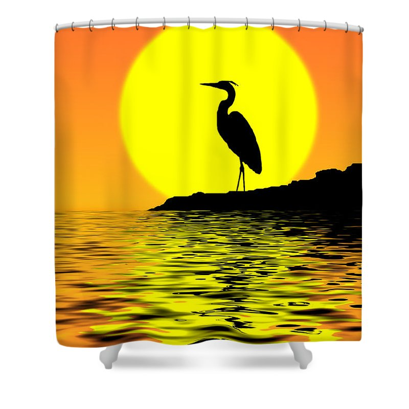 Heron Shower Curtain featuring the photograph Blue Heron Sunset by Rich Leighton
