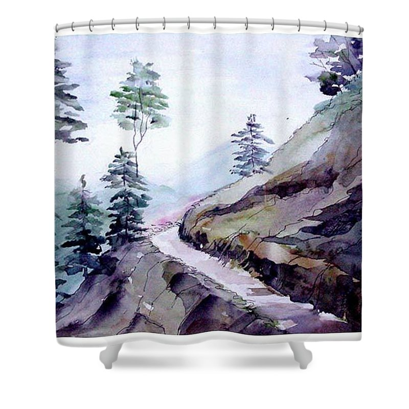 Landscape Shower Curtain featuring the painting Blue Hills by Anil Nene