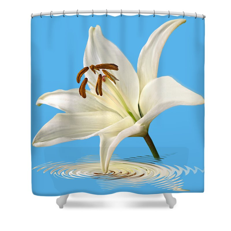 Single White Lily Shower Curtain Featuring The Photograph Blue Horizons