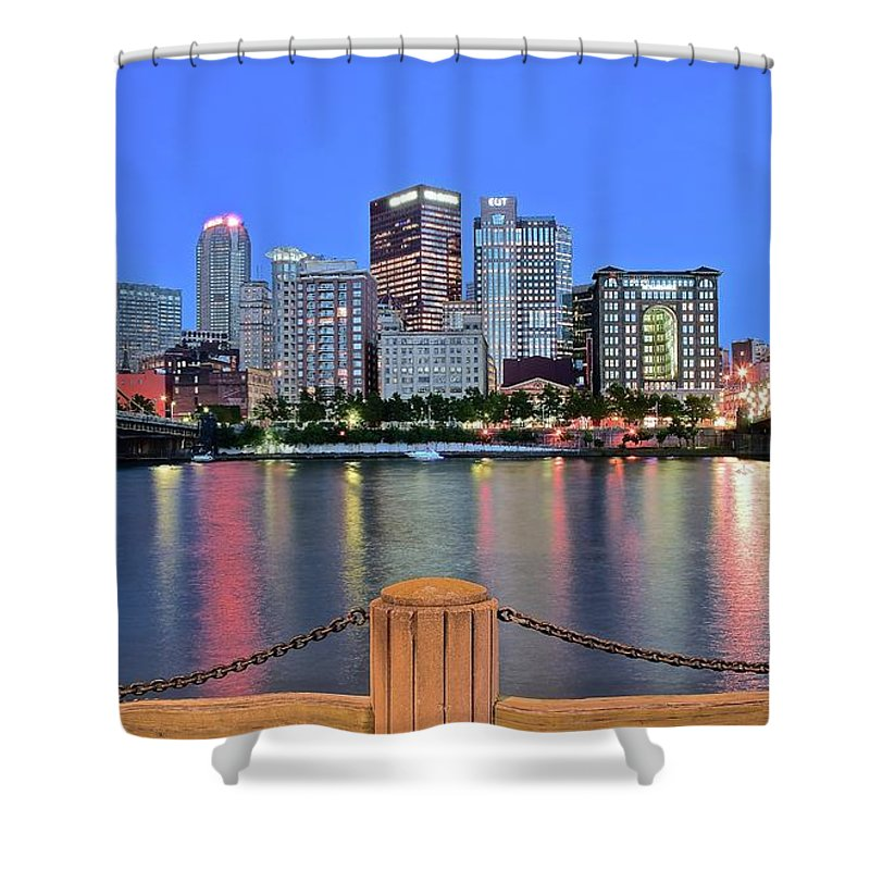Pittsburgh Shower Curtain featuring the photograph Blue Hour In The Steel City by Frozen in Time Fine Art Photography